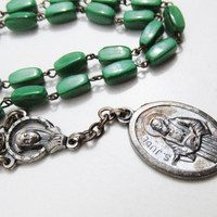 Vintage Chaplet: St. Jude Medal with Green Beads, Children's Chaplet