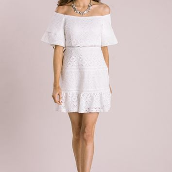 Mariella White Eyelet Mini Dress