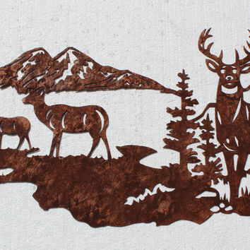Buck with Does, Deer Mountain Scene Metal Wall Art Country Rustic Decor