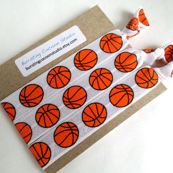 Set of 3 Basketball hair ties, basketball print, foldover elastic, gentle ponytail holders, sports, athletic girls gift, stocking stuffer