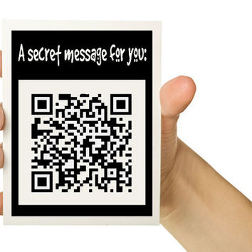 OOAK QR Secret Message 5 x 7 Greeting Card to by TheWallaroo