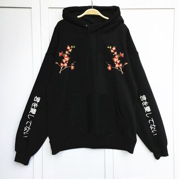 Women Autumn Winter Korean Fashion College Wind Hooded Plum Japanese Embroidery Big Pockets Fleece Thick Loose Sweatshirts