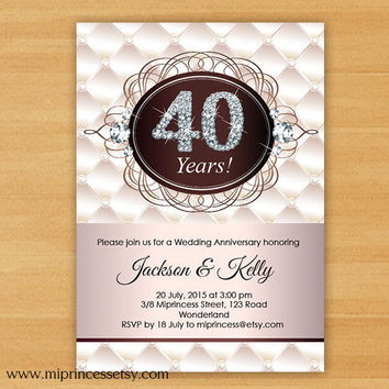 Anniversary Invitation, Wedding Anniversary Invitation 10th 20th 30th 40th 50th glitter gold elegant design  - card 273
