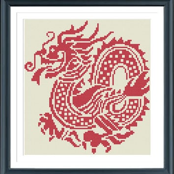 Chinese Dragon KT2101, Cross Stitch Pattern, Cross Stitch Animal, Cross Stitch Chart, Cross Stitch PDF, Silhouette Cross Stitch