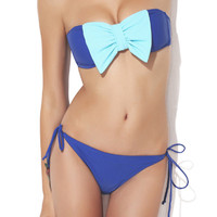 ROMWE Bowknot Embellishment Self-tied Blue Bikini