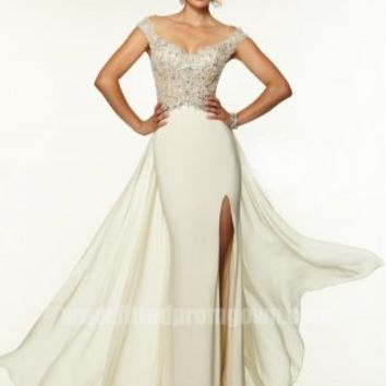 2015 Fitted Mori Lee 97102 Beaded Off the Shoulder Prom Dress [Mori Lee 97102]