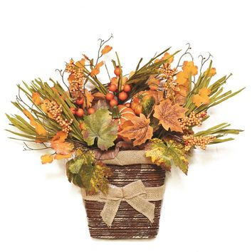 """18"""" Autumn Harvest Artificial Pumpkins  Berries  Leaves and Grass Wall Mounted Basket Decoration"""