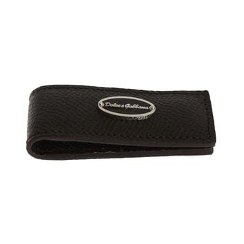 Dolce & Gabbana Brown Leather Magnet Money Clip