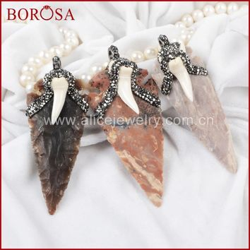 BOROSA Arrowhead Rough Natural Natural Stone With Shark Tooth Charm Bead Paved Zircon JAB303