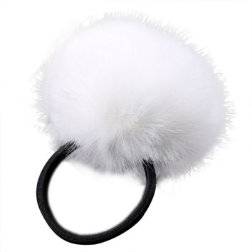 1PC Rabbit Fur Hair Band Elastic Hair Bobble Pony Tail Holder