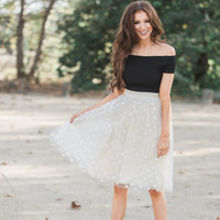 Courtney Polka Dot Tulle Cream Skirt