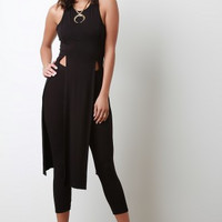 Crisscross Open Back Double Slit Longline Top