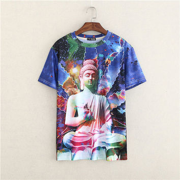 Funky Cosmic Buddha  Shirt Hip Hop Urban Swag Sublimation All Over Print Shirt Tee Shirt Graphic Tee Gift Idea Free Shipping USA