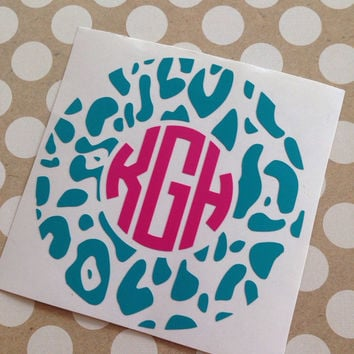 Animal Print Circle Monograms | Animal Print Monograms | Cheetah Print Monograms | Zebra Print Monograms | Monogrammed Circle Decals