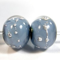 Navy Blue Handmade Lampwork Glass Beads Encased Fine Silver