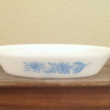 Vintage Glasbake Blue Floral Oval Divided Bowl / Casserole, J2352, Jeanette Glass Kitchenware