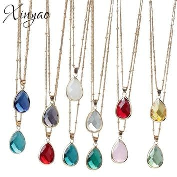 XINYAO 12 Colors Birthstone Natural Stone Pendant Necklace Druzy Quartz Gem Stone Crystal Diy Charm Necklace For Women Jewelry