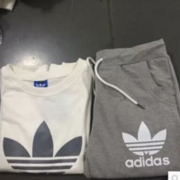 "Women Fashion ""ADIDAS"" Print Hoodie Top Sweater Pants Sweatpants Set Two-Piece Sportswear GREY"