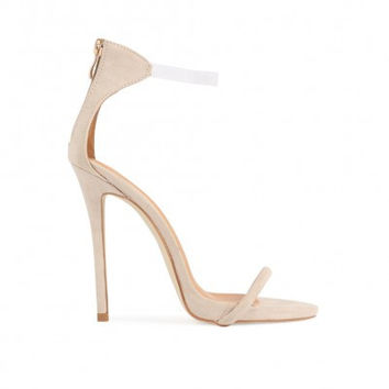 Silhouette Clear Strap Heels Nude