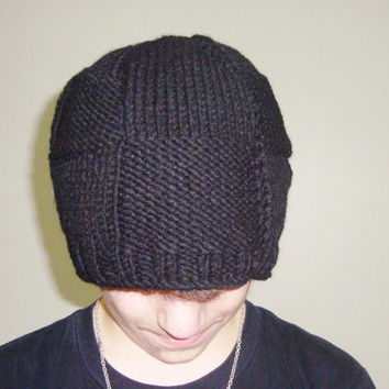 Hand Knit Hat Mens Hat - Skull Beret Hat in Black White Knit Hat - Mens Accessories