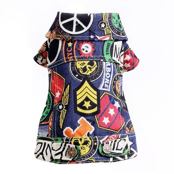 Trendy Fashion Graffiti Dog Coat Jacket Small Breed Dog Clothes Autumn Denim Pet Clothing Chihuahua Shih Tzu Outfit Apparel XXS - L AT_94_13