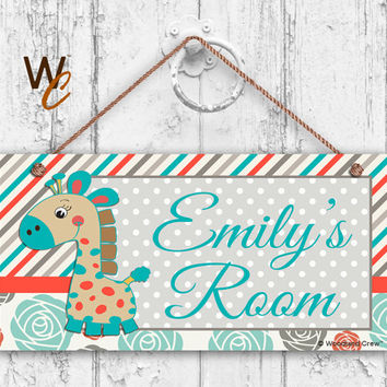 "Nursery Sign, Giraffe Girls Room Sign, Personalized Sign, Kid's Name, Kids Door Sign, Baby Nursery Art, 5"" x 10"" Sign, Made To Order"