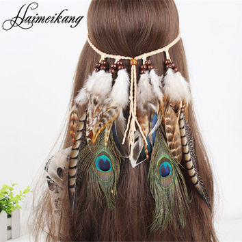 Hair Feathers Headband for Women Girl 2016 Fashion Boho Hair Accessories Indian Beads Gypsy Feather Knitted Belt Hair Band