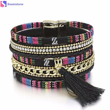 tassel Multi-layer bracelet Leather Bracelet Rhinestone Bangle Charm Wristband