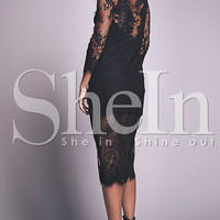 Black Round Neck Lace Dress -SheIn(Sheinside)