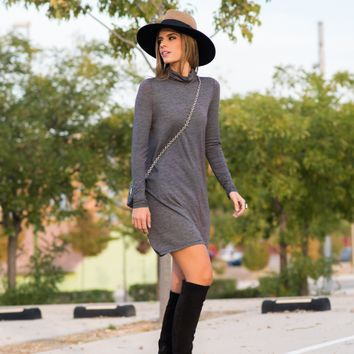 Gray High Neck Long Sleeve Dress