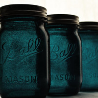 Stained Mason Jars Pint Size In Midnight Blue by willowfairedecor