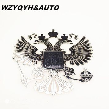 2PCS  Car Styling 90 x 90 mm Coat of arms of Russia car body metal sticker Russian Eagle Decal Decoration stickers