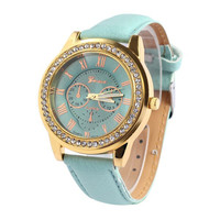 Vintage Roman Numeral Rhinestoned Watch For Women