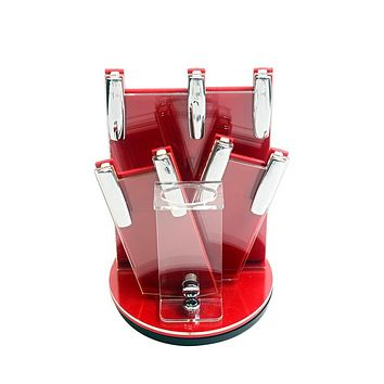 Red acrylic kitchen ceramic knife holder hot sale kitchen knife stand cooking knife block for 3, 4, 5, 6 inch knives and peeler