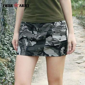 New Sexy Mini Skirts For Women Summer Style Mid Waist Micro Army Green Skirts Womens Pockets Camo Zipper Skirt Casual Gk-9511