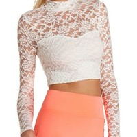 MOCK NECK CROCHET CROP TOP