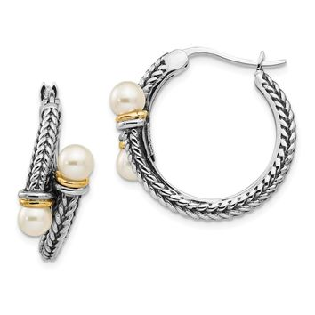 Sterling Silver Two Tone Silver And Gold Plated Sterling Silver w/ 4mm FW Cultured Pearl Hoop Earrings