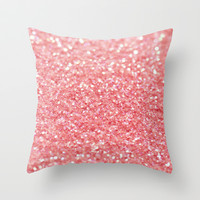 coral pink Throw Pillow by Ingz