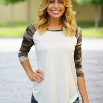 Ivory Top with Camo Sleeves