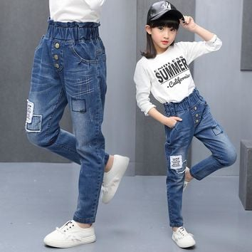 Teenage Girls Jeans High Waist Jeans for Teenagers Girls Denim Trousers Teen Girls Jeans Top Quality Children Jeans Clothing