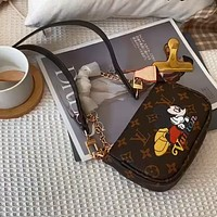 LV x DISNEY Graffiti Print Retro Women's Mahjong Bag