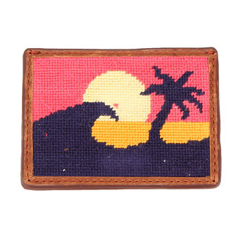 Sunset Surfing Needlepoint Credit Card Wallet by Parlour