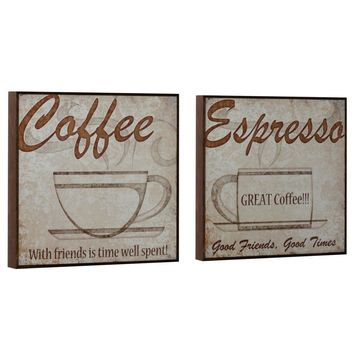 Vintage Coffee Wood Wall Art (Set of 2) (1071) - Illuminada