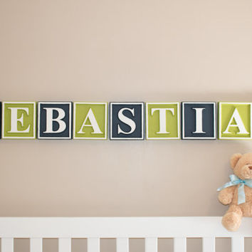 Personalized Letter blocks nursery name blocks wooden alphabet blocks custom baby name plaque baby name sign wall letters