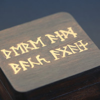 The Hobbit Jewelry Box - Walnut with Gold Runes - There and Back Again....