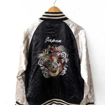 CRAZY SALE 25% Vintage Sukajan Yakuza 80's Japanese Dragon Japan Toyo Tailor Embroidery Souvenir Black Varsity Satin Jacket XL