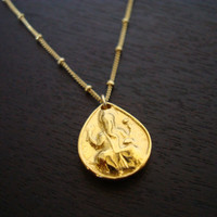 Women's Gold Ganesha Necklace - Gold Vermeil Ganesh & Satellite Chain  - Yoga Jewelry, Womens Jewelry, Ganesha Jewelry