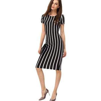 Women Vertical Striped Dresses Short Sleeve Sheath Midi Dress