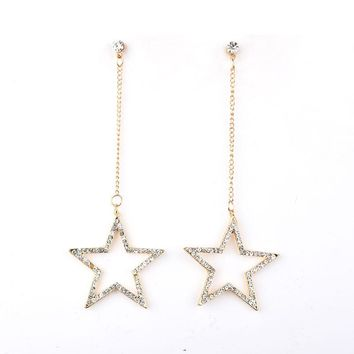 Lady Temperament Long Dangling Crystal Star Earrings For Woman Girls Dance Party Elegant Ears Jewelry Accessories