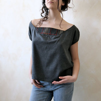 Grey and red wool T shirt one of a kind by 8fantasie8 on Etsy